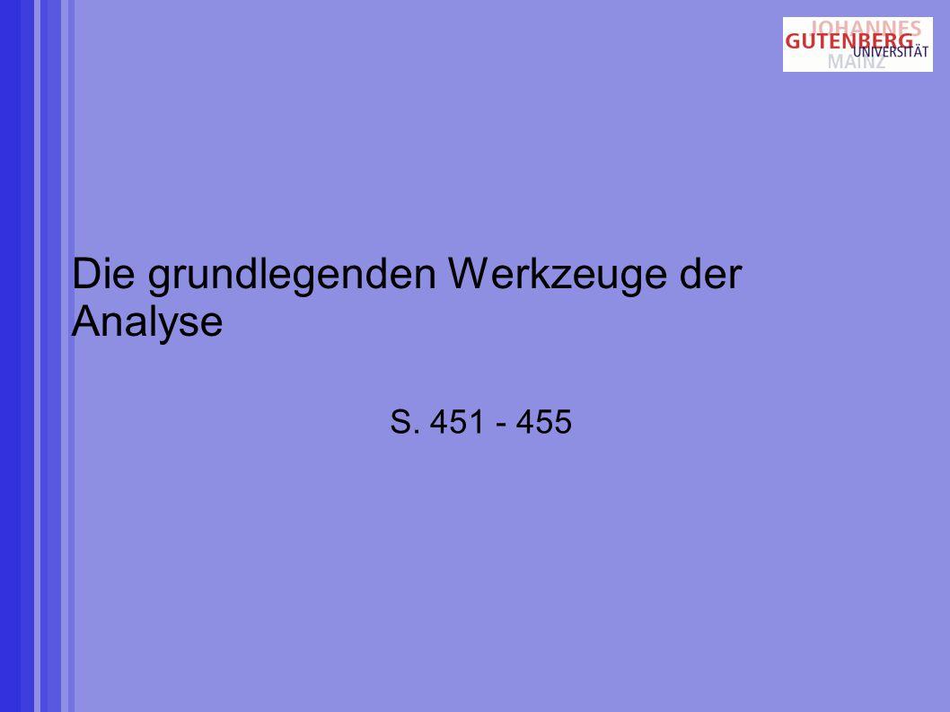 Die grundlegenden Werkzeuge der Analyse S. 451 - 455