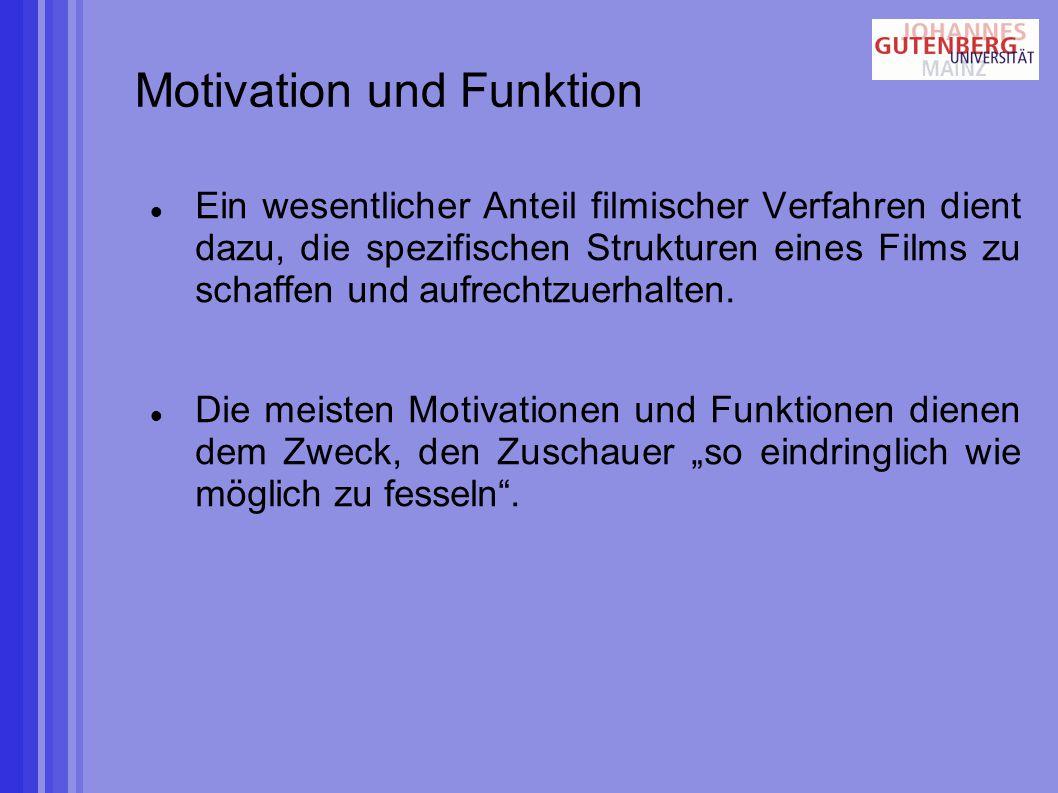 Motivation und Funktion Ein wesentlicher Anteil filmischer Verfahren dient dazu, die spezifischen Strukturen eines Films zu schaffen und aufrechtzuerhalten.