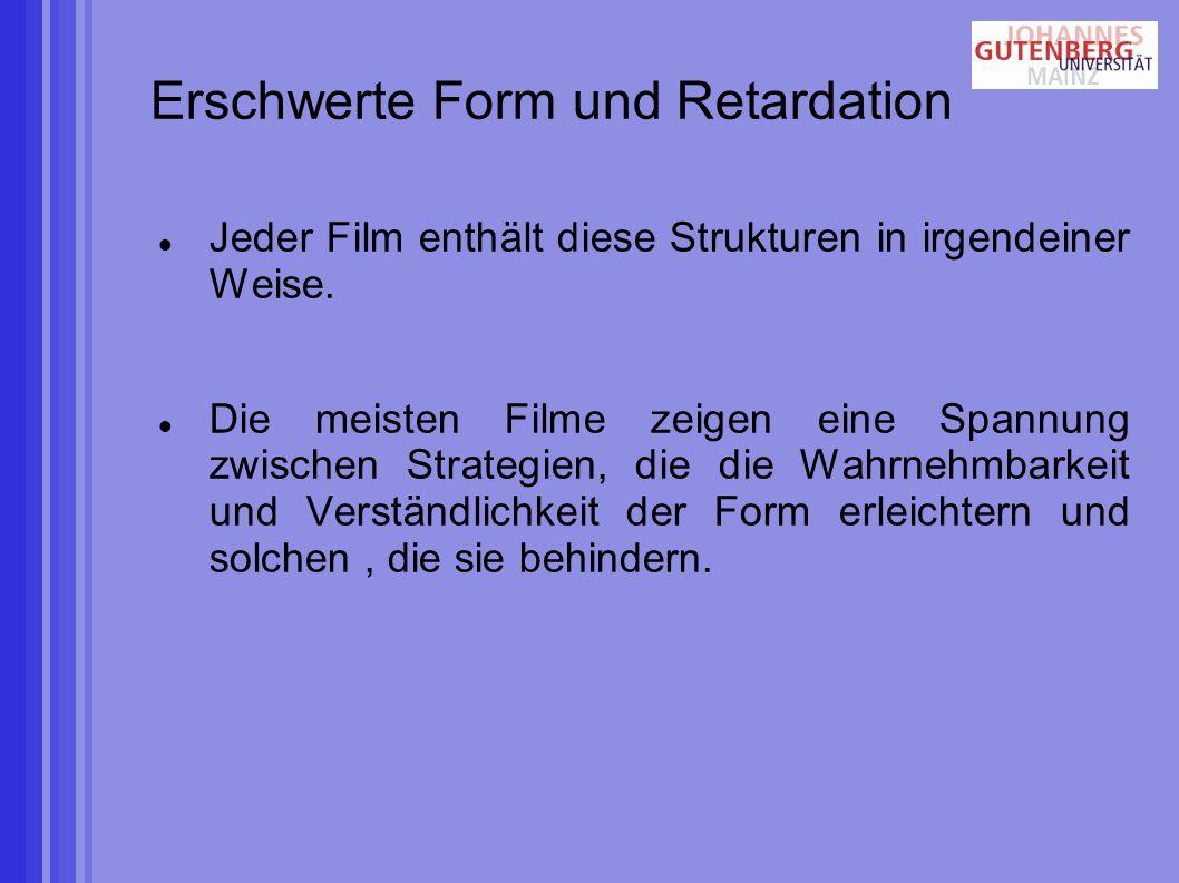 Erschwerte Form und Retardation Jeder Film enthält diese Strukturen in irgendeiner Weise.
