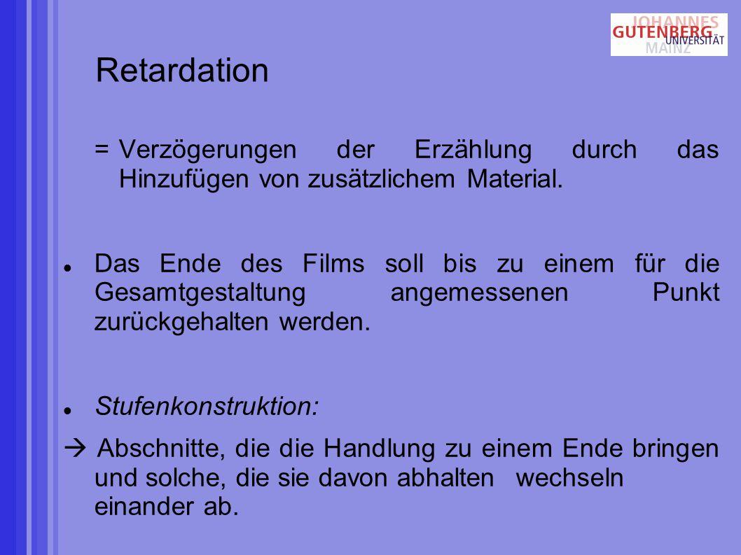 Retardation =Verzögerungen der Erzählung durch das Hinzufügen von zusätzlichem Material.