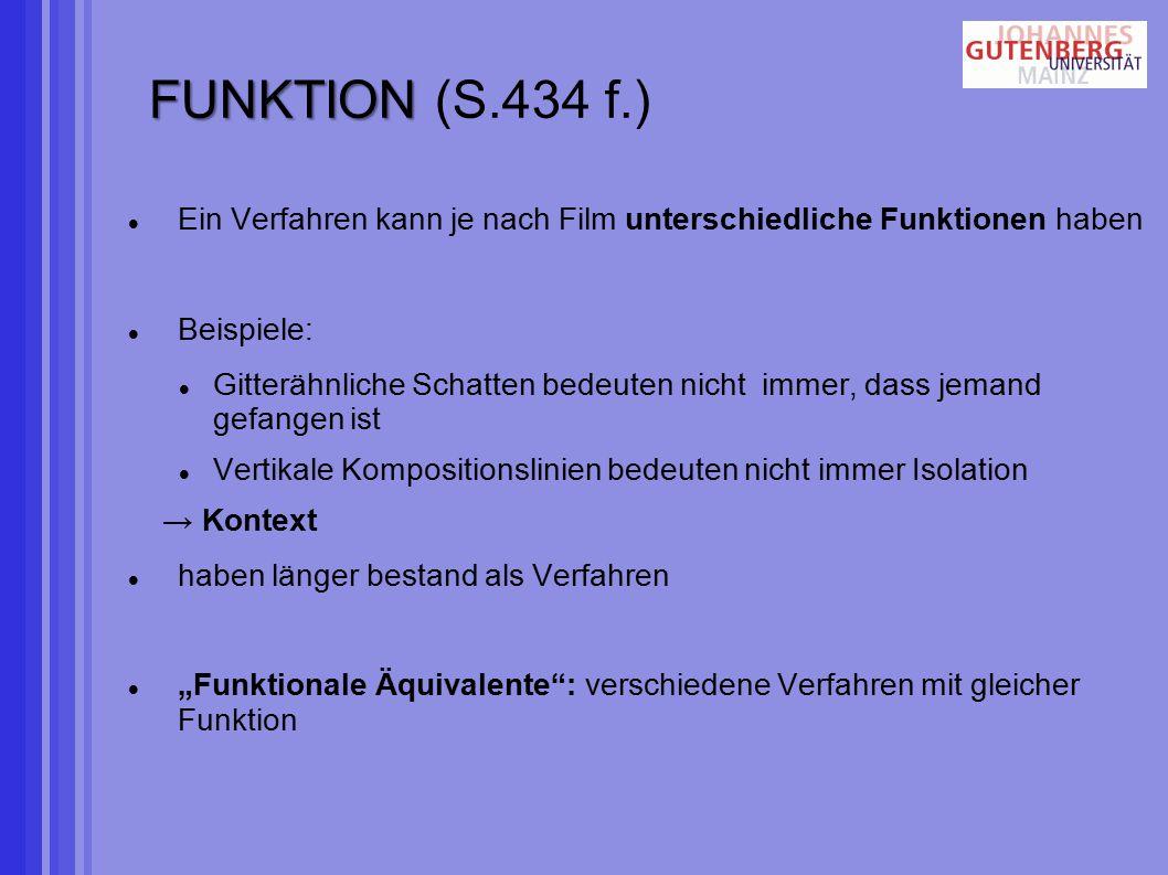 """FUNKTION FUNKTION (S.434 f.) Ein Verfahren kann je nach Film unterschiedliche Funktionen haben Beispiele: Gitterähnliche Schatten bedeuten nicht immer, dass jemand gefangen ist Vertikale Kompositionslinien bedeuten nicht immer Isolation → Kontext haben länger bestand als Verfahren """"Funktionale Äquivalente : verschiedene Verfahren mit gleicher Funktion"""