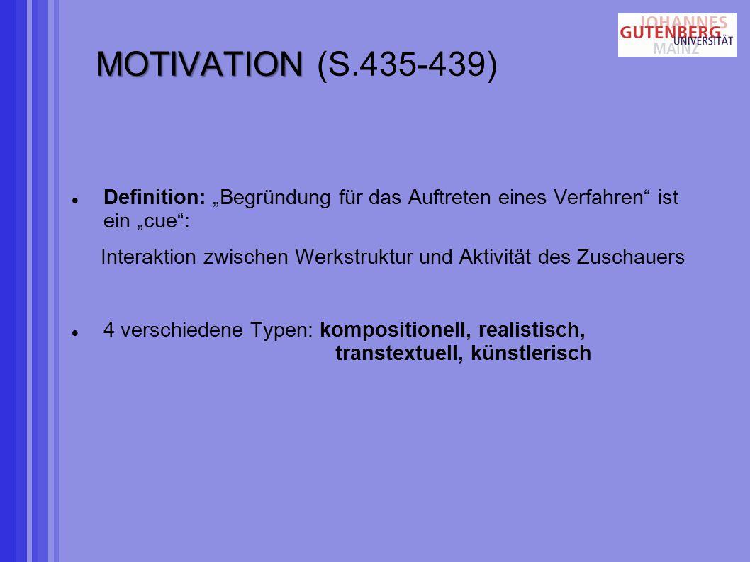 """MOTIVATION MOTIVATION (S.435-439) Definition: """"Begründung für das Auftreten eines Verfahren ist ein """"cue : Interaktion zwischen Werkstruktur und Aktivität des Zuschauers 4 verschiedene Typen: kompositionell, realistisch, transtextuell, künstlerisch"""