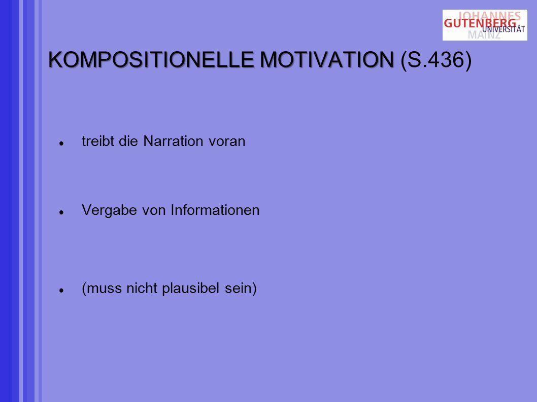 KOMPOSITIONELLE MOTIVATION KOMPOSITIONELLE MOTIVATION (S.436) treibt die Narration voran Vergabe von Informationen (muss nicht plausibel sein)