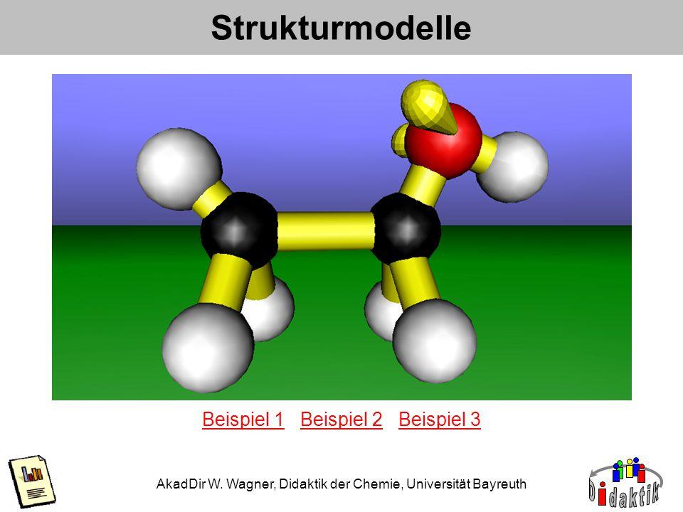 AkadDir W. Wagner, Didaktik der Chemie, Universität Bayreuth Strukturmodelle Beispiel 1Beispiel 1 Beispiel 2 Beispiel 3Beispiel 2Beispiel 3