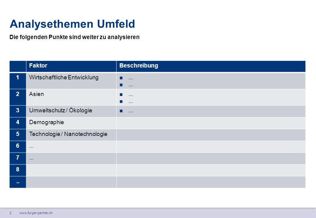 2 www.furger-partner.ch Analysethemen Umfeld FaktorBeschreibung 1Wirtschaftliche Entwicklung■...