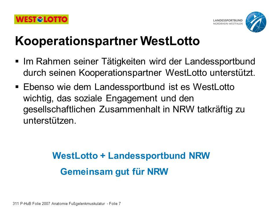 Imagefilm WestLotto - Einspieler 311 P-HuB Folie 2007 Anatomie Fußgelenkmuskulatur - Folie 8