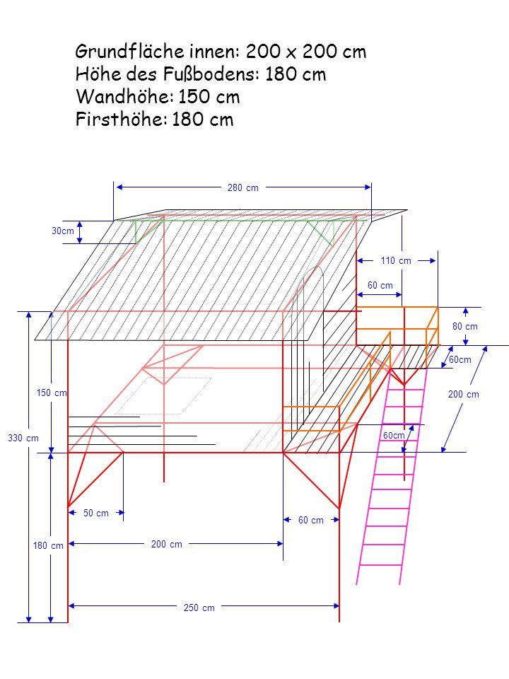 150 cm 180 cm Grundfläche innen: 200 x 200 cm Höhe des Fußbodens: 180 cm Wandhöhe: 150 cm Firsthöhe: 180 cm 250 cm 330 cm 50 cm 60 cm 200 cm 60 cm 110
