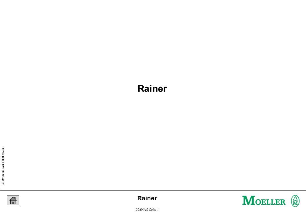 Schutzvermerk nach DIN 34 beachten 20/04/15 Seite 42 Rainer Programm Organisations Einheit DeklarationAnweisungen + VAR Eingang1 AT %I0.0.0.0.0 : BOOL ; Ausgang1 AT %Q0.0.0.0.0 : BOOL ; END_VAR LDEingang1 STAusgang1 Aufbau einer POE