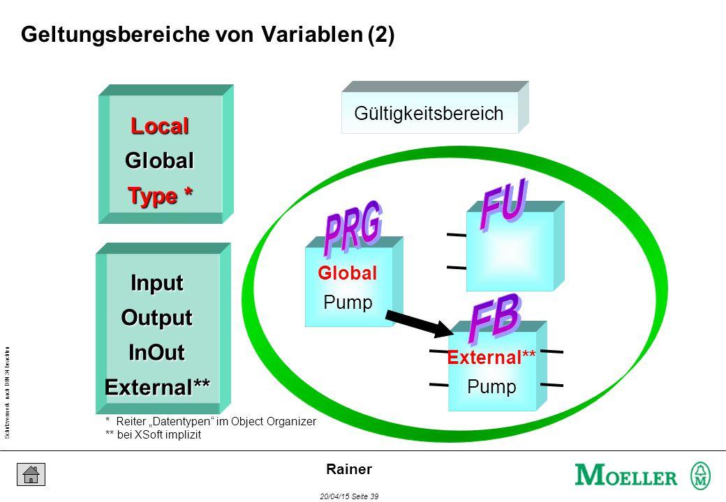 """Schutzvermerk nach DIN 34 beachten 20/04/15 Seite 39 Rainer Global Pump External** Pump Gültigkeitsbereich LocalGlobal Type * InputOutputInOutExternal** * Reiter """"Datentypen im Object Organizer ** bei XSoft implizit Geltungsbereiche von Variablen (2)"""