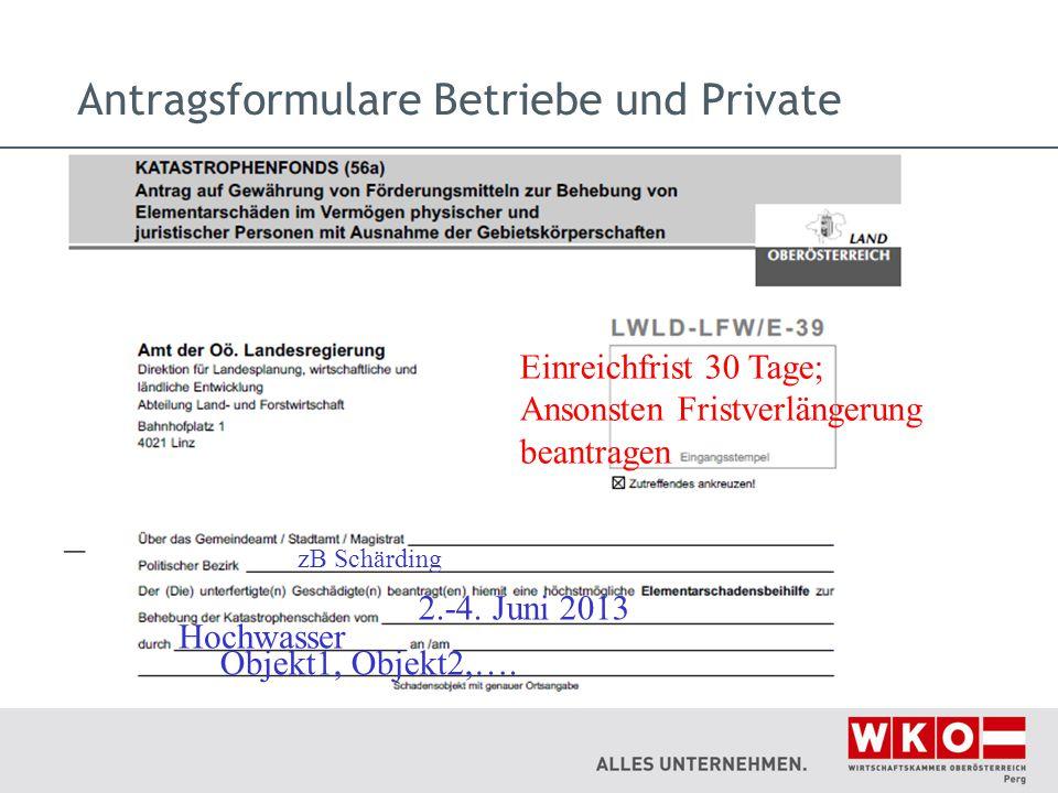 Antragsformulare Betriebe und Private Einreichfrist 30 Tage; Ansonsten Fristverlängerung beantragen zB Schärding 2.-4. Juni 2013 Hochwasser Objekt1, O