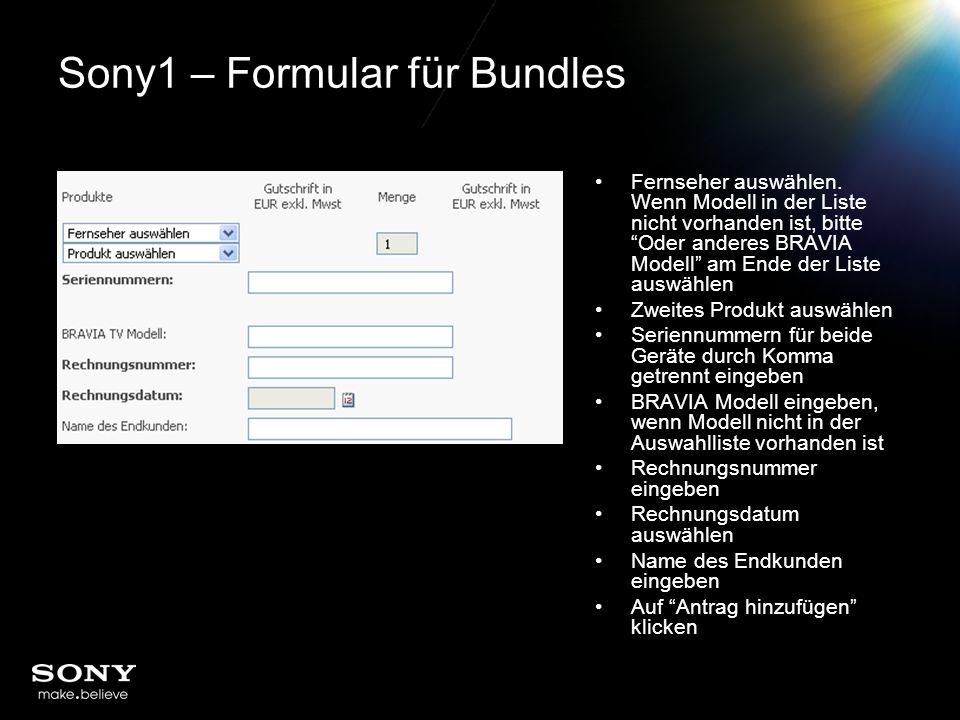 Sony1 – Formular für Bundles Fernseher auswählen.