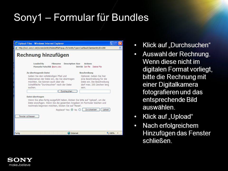 """Sony1 – Formular für Bundles Klick auf """"Durchsuchen Auswahl der Rechnung."""