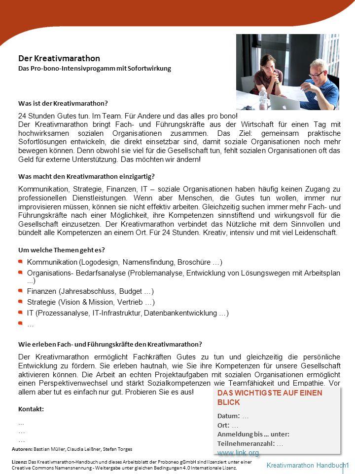 2Kreativmarathon Handbuch Auftrags- und Zielklärungsgespräch: Leitfragen für soziale Organisationen Welches Problem möchten Sie durch die Beratung lösen.
