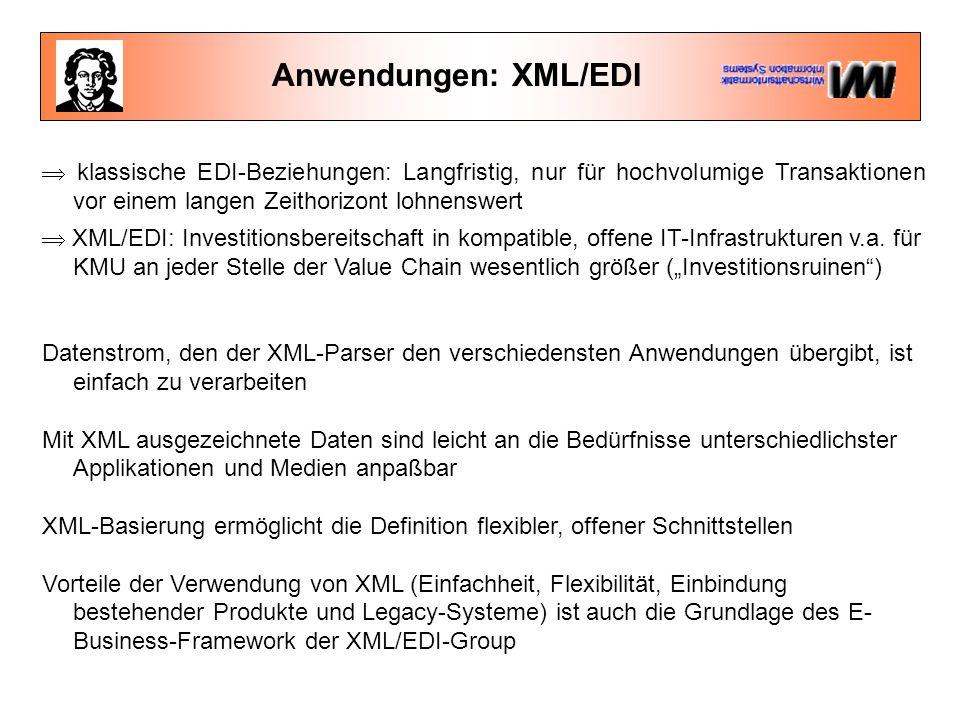 Anwendungen: XML/EDI  klassische EDI-Beziehungen: Langfristig, nur für hochvolumige Transaktionen vor einem langen Zeithorizont lohnenswert  XML/EDI