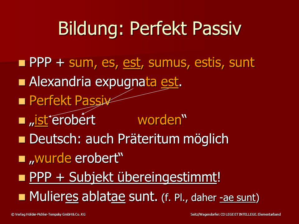 © Verlag Hölder-Pichler-Tempsky GmbH & Co. KG Seitz/Wagendorfer: CD LEGE ET INTELLEGE. Elementarband PPP + sum, es, est, sumus, estis, sunt PPP + sum,