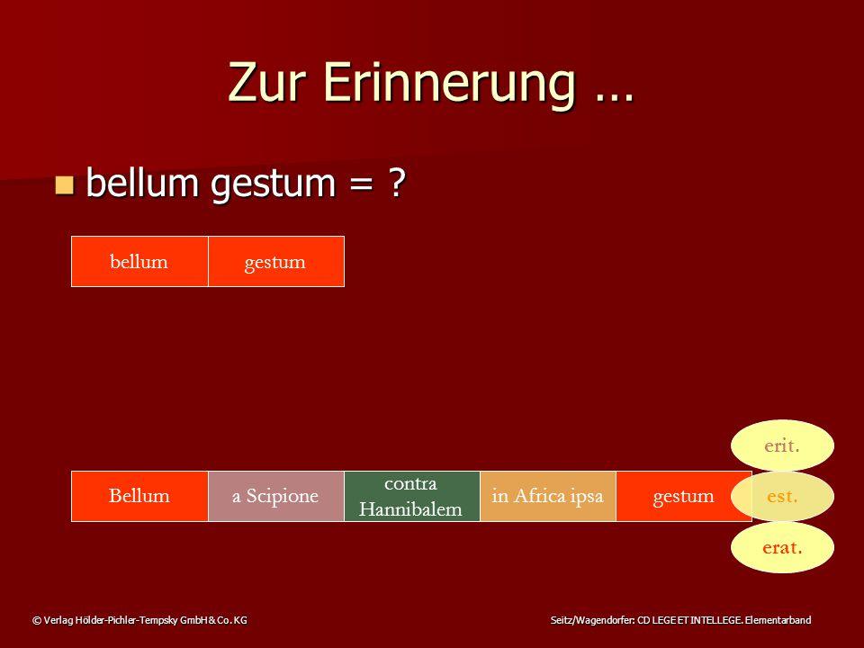 © Verlag Hölder-Pichler-Tempsky GmbH & Co. KG Seitz/Wagendorfer: CD LEGE ET INTELLEGE. Elementarband Zur Erinnerung … bellum gestum = ? bellum gestum