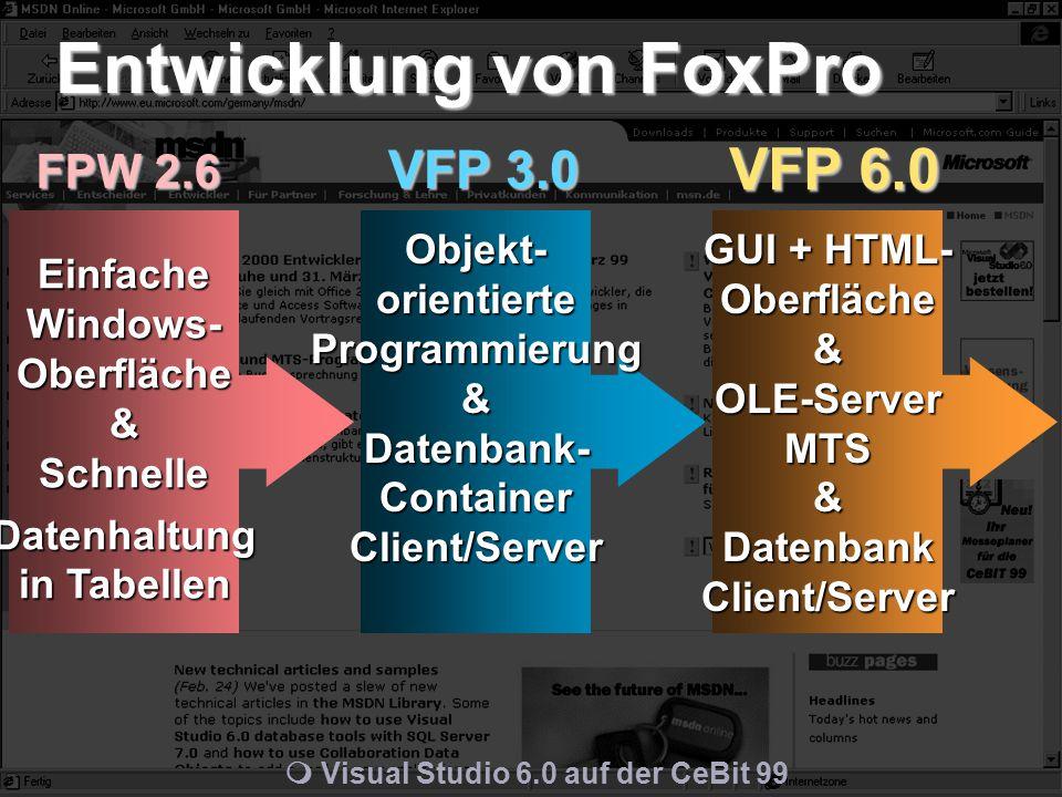 m Visual Studio 6.0 auf der CeBit 99 FPW 2.6 VFP 3.0 VFP 6.0 Entwicklung von FoxPro Einfache Windows- Oberfläche & Schnelle Datenhaltung in Tabellen Objekt- orientierte Programmierung & Datenbank- Container Client/Server GUI + HTML- Oberfläche & OLE-Server MTS & Datenbank Client/Server