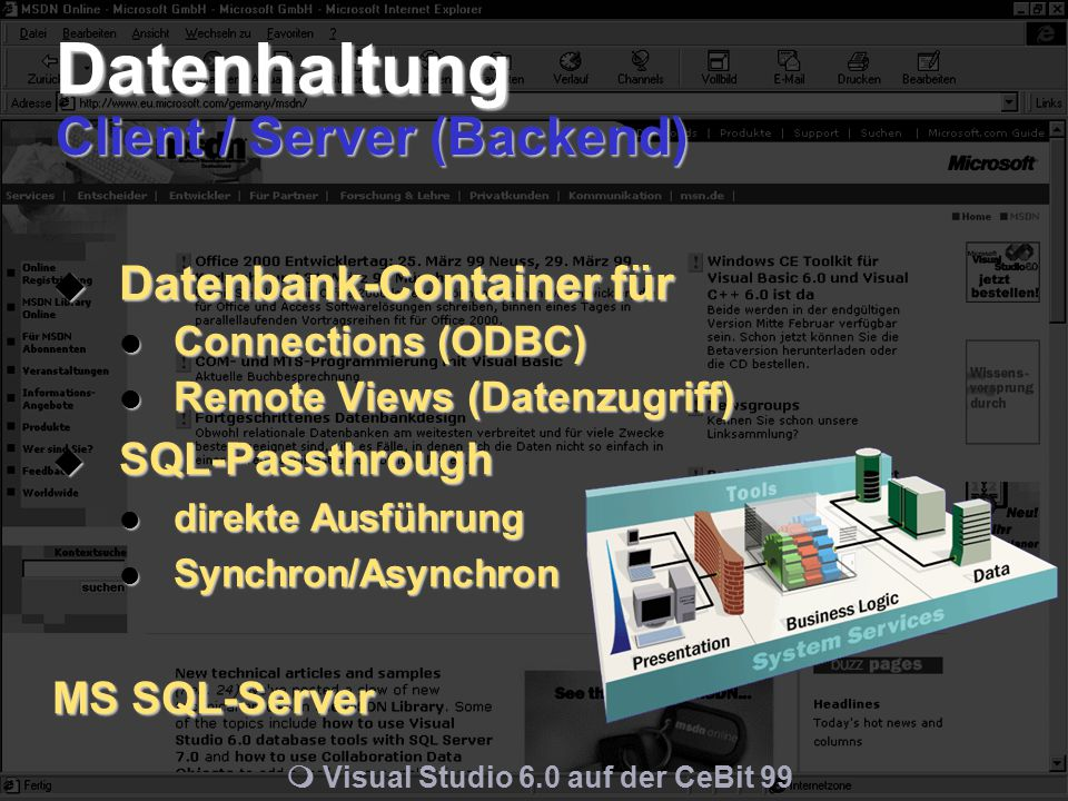 m Visual Studio 6.0 auf der CeBit 99 Datenhaltung Client / Server (Backend)  Datenbank-Container für Connections (ODBC) Connections (ODBC) Remote Views (Datenzugriff) Remote Views (Datenzugriff)  SQL-Passthrough direkte Ausführung direkte Ausführung Synchron/Asynchron Synchron/Asynchron MS SQL-Server
