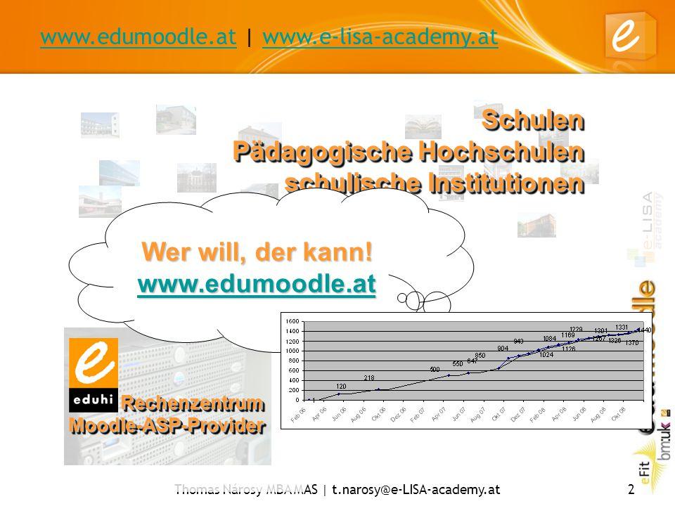 www.edumoodle.atwww.edumoodle.at | www.e-lisa-academy.atwww.e-lisa-academy.at Thomas Nárosy MBA MAS | t.narosy@e-LISA-academy.at2 RechenzentrumMoodle-ASP-ProviderRechenzentrumMoodle-ASP-Provider Schulen Pädagogische Hochschulen schulische Institutionen Wer will, der kann.