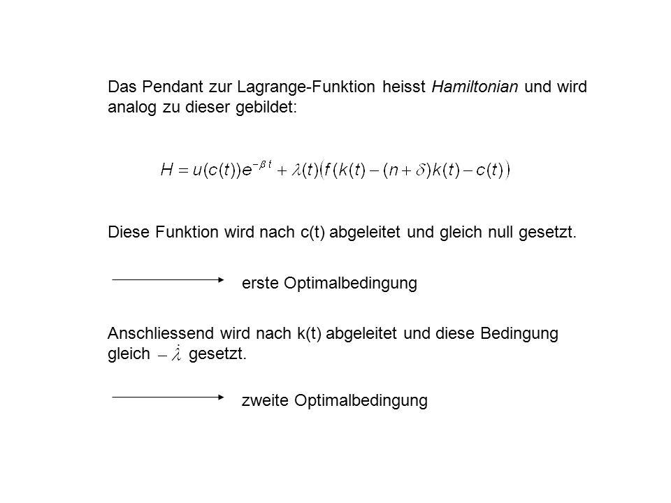 Das Pendant zur Lagrange-Funktion heisst Hamiltonian und wird analog zu dieser gebildet: Diese Funktion wird nach c(t) abgeleitet und gleich null gese