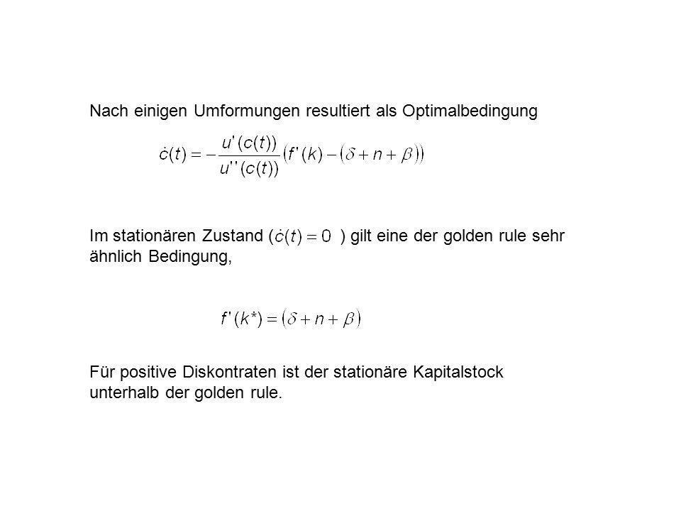 Nach einigen Umformungen resultiert als Optimalbedingung Im stationären Zustand ( ) gilt eine der golden rule sehr ähnlich Bedingung, Für positive Diskontraten ist der stationäre Kapitalstock unterhalb der golden rule.