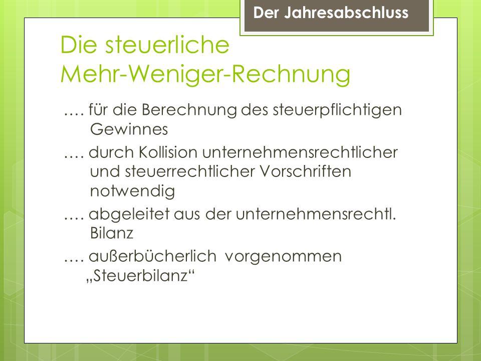 Der Jahresabschluss Die steuerliche Mehr-Weniger-Rechnung ….