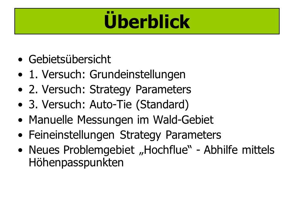 Überblick Gebietsübersicht 1. Versuch: Grundeinstellungen 2.