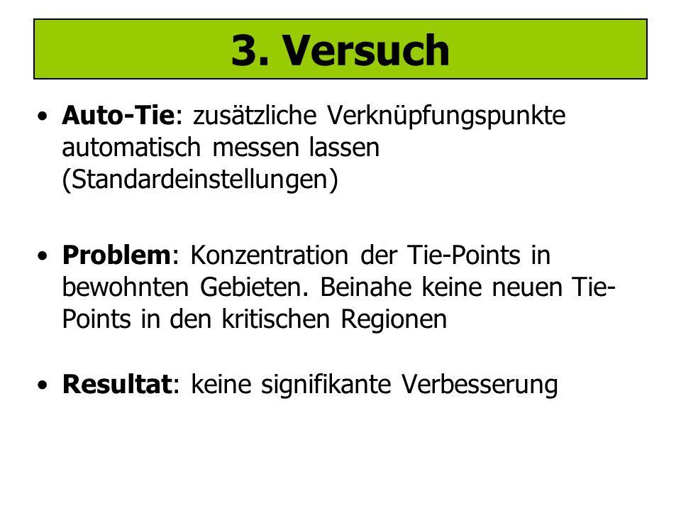 Problemgebiet: Wald Manuelle Messung von Punkten im (steilen) Waldgebiet Resultat: Lokale Verbesserung bei manuell gemessenen Punkten  nur inselartig; restliche Problemfläche weiterhin schlecht