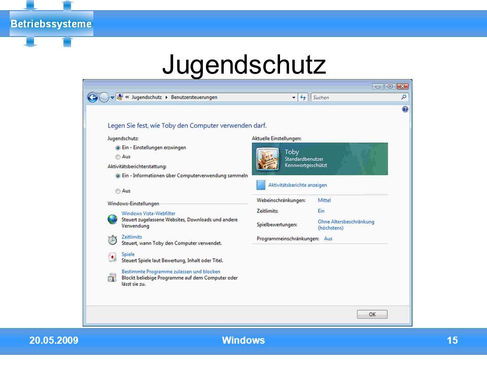 20.05.2009Windows15 Jugendschutz