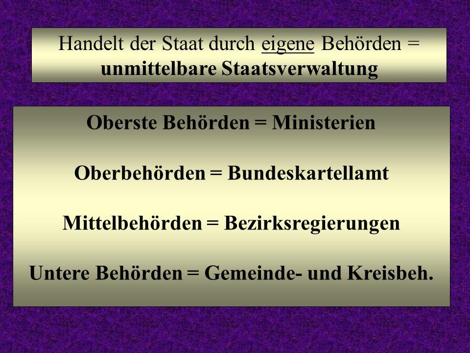 Handelt der Staat durch eigene Behörden = unmittelbare Staatsverwaltung Oberste Behörden = Ministerien Oberbehörden = Bundeskartellamt Mittelbehörden = Bezirksregierungen Untere Behörden = Gemeinde- und Kreisbeh.