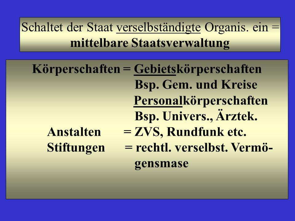 Schaltet der Staat verselbständigte Organis. ein = mittelbare Staatsverwaltung Körperschaften = Gebietskörperschaften Bsp. Gem. und Kreise Personalkör