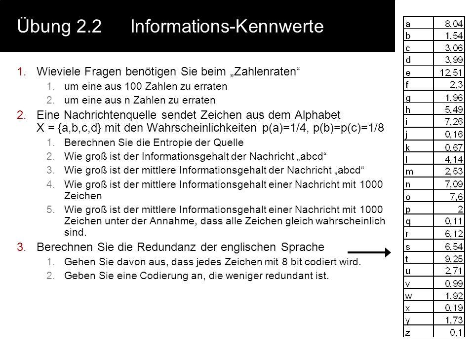 """Übung 2.2Informations-Kennwerte 1.Wieviele Fragen benötigen Sie beim """"Zahlenraten"""" 1.um eine aus 100 Zahlen zu erraten 2.um eine aus n Zahlen zu errat"""