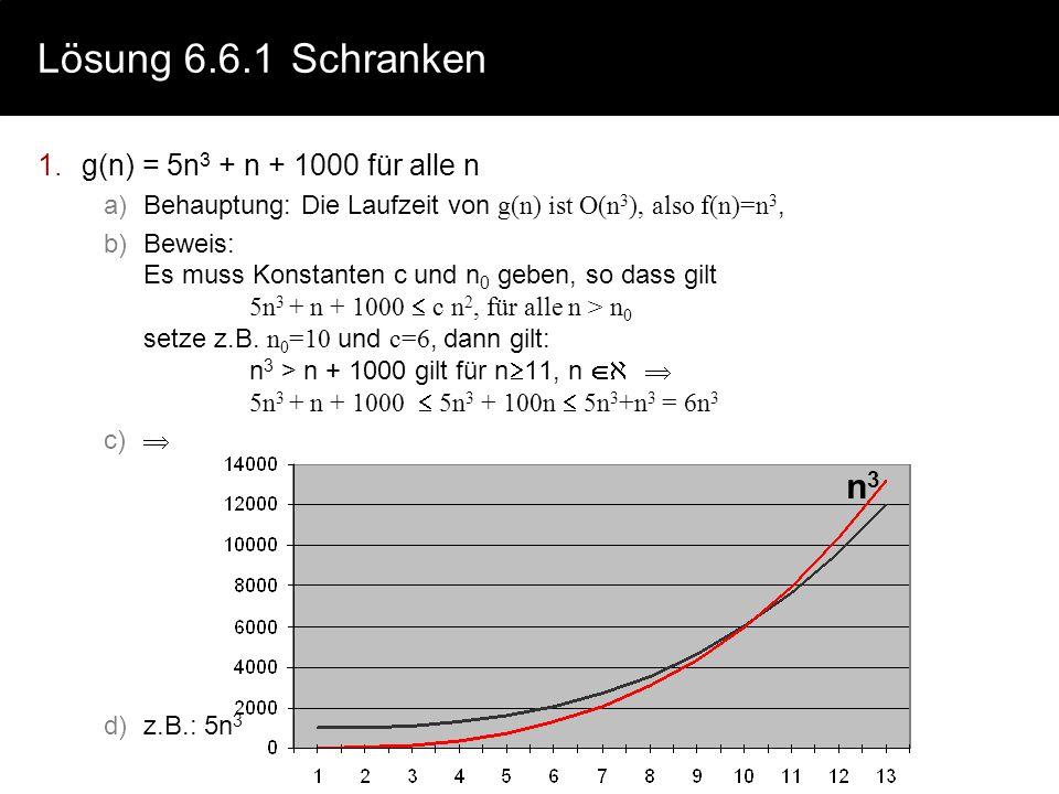 Lösung 6.6.1Schranken 1.g(n) = 5n 3 + n + 1000 für alle n a)Behauptung: Die Laufzeit von g(n) ist O(n 3 ), also f(n)=n 3, b)Beweis: Es muss Konstanten