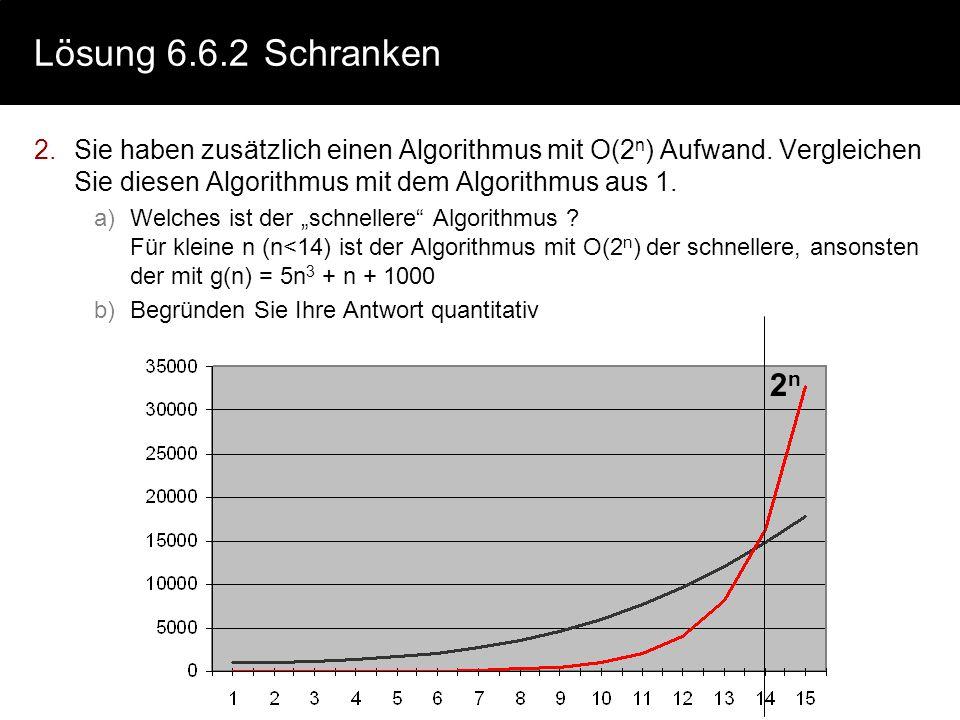 Lösung 6.6.2Schranken 2.Sie haben zusätzlich einen Algorithmus mit O(2 n ) Aufwand. Vergleichen Sie diesen Algorithmus mit dem Algorithmus aus 1. a)We