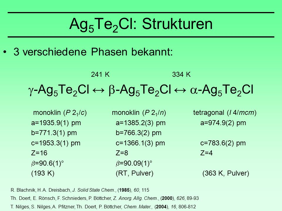 Ag 5 Te 2 Cl: Strukturen 3 verschiedene Phasen bekannt: 241 K 334 K  -Ag 5 Te 2 Cl ↔  -Ag 5 Te 2 Cl ↔  -Ag 5 Te 2 Cl monoklin (P 2 1 /c) monoklin (P 2 1 /n) tetragonal (I 4/mcm) a=1935.9(1) pma=1385.2(3) pma=974.9(2) pm b=771.3(1) pmb=766.3(2) pm c=1953.3(1) pmc=1366.1(3) pmc=783.6(2) pm Z=16Z=8Z=4  =90.6(1)°  =90.09(1)° (193 K)(RT, Pulver) (363 K, Pulver) R.