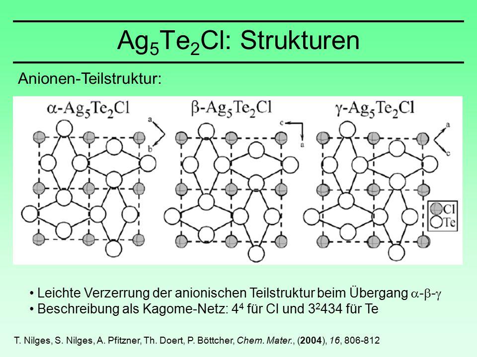Anionen-Teilstruktur: Leichte Verzerrung der anionischen Teilstruktur beim Übergang  -  -  Beschreibung als Kagome-Netz: 4 4 für Cl und 3 2 434 für Te Ag 5 Te 2 Cl: Strukturen