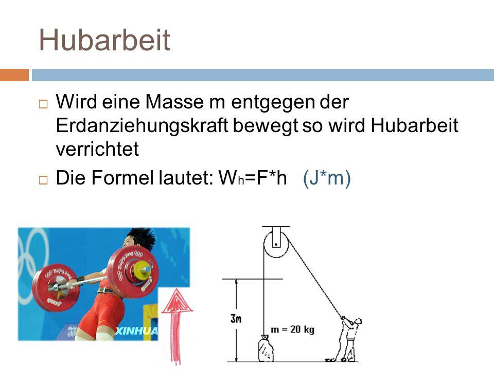 Hubarbeit  Wird eine Masse m entgegen der Erdanziehungskraft bewegt so wird Hubarbeit verrichtet  Die Formel lautet: W h =F*h (J*m)