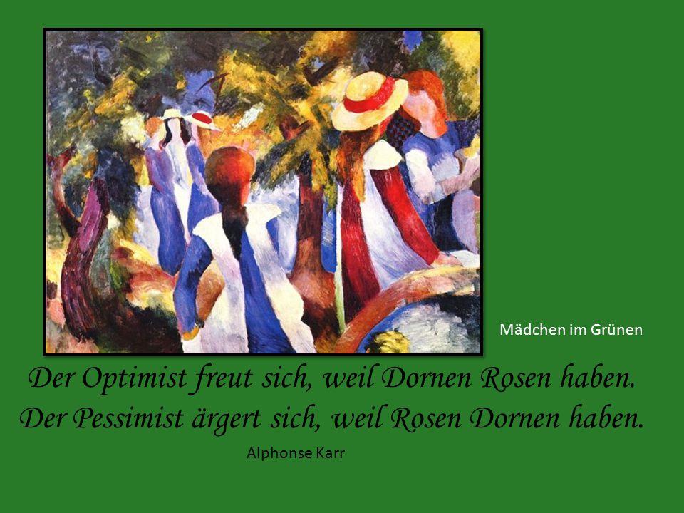 Mädchen im Grünen Der Optimist freut sich, weil Dornen Rosen haben.