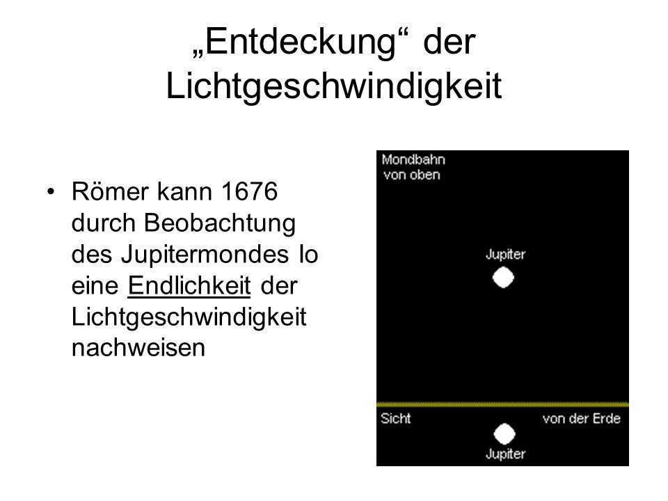 """""""Entdeckung"""" der Lichtgeschwindigkeit Römer kann 1676 durch Beobachtung des Jupitermondes Io eine Endlichkeit der Lichtgeschwindigkeit nachweisen"""