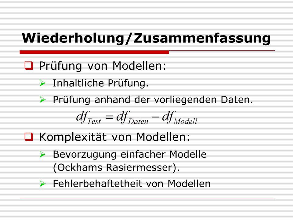 Wiederholung/Zusammenfassung  Prüfung von Modellen:  Inhaltliche Prüfung.  Prüfung anhand der vorliegenden Daten.  Komplexität von Modellen:  Bev
