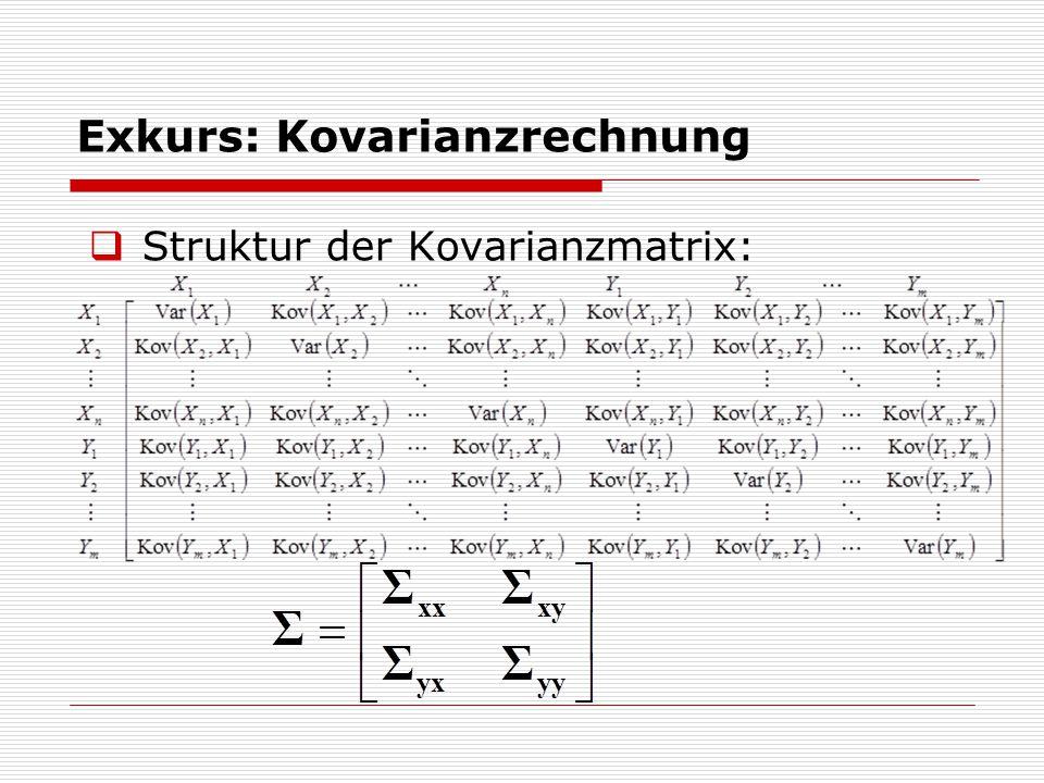 Exkurs: Kovarianzrechnung  Struktur der Kovarianzmatrix: