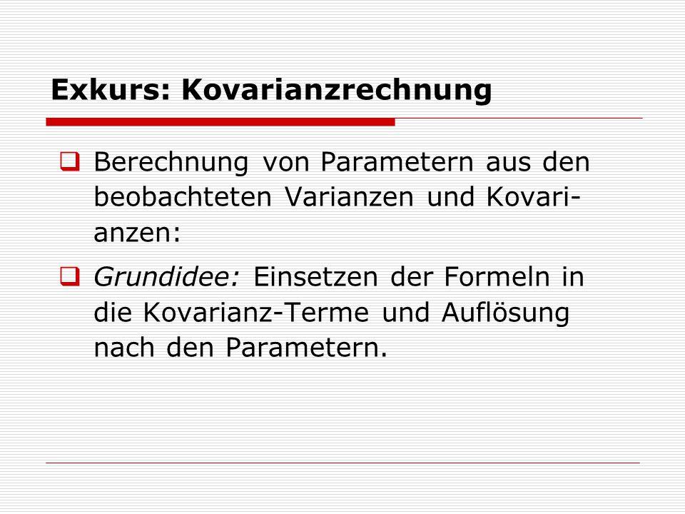 Exkurs: Kovarianzrechnung  Berechnung von Parametern aus den beobachteten Varianzen und Kovari- anzen:  Grundidee: Einsetzen der Formeln in die Kovarianz-Terme und Auflösung nach den Parametern.