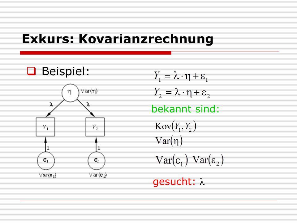 Exkurs: Kovarianzrechnung  Beispiel: bekannt sind: gesucht: