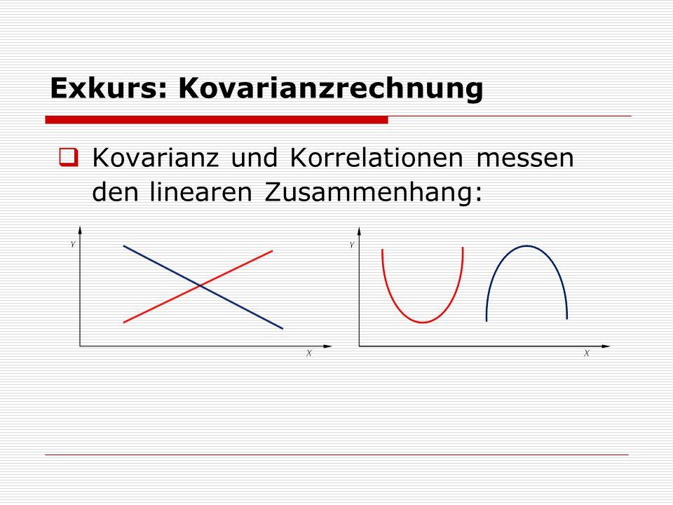 Exkurs: Kovarianzrechnung  Kovarianz und Korrelationen messen den linearen Zusammenhang: