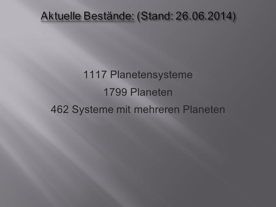 1117 Planetensysteme 1799 Planeten 462 Systeme mit mehreren Planeten
