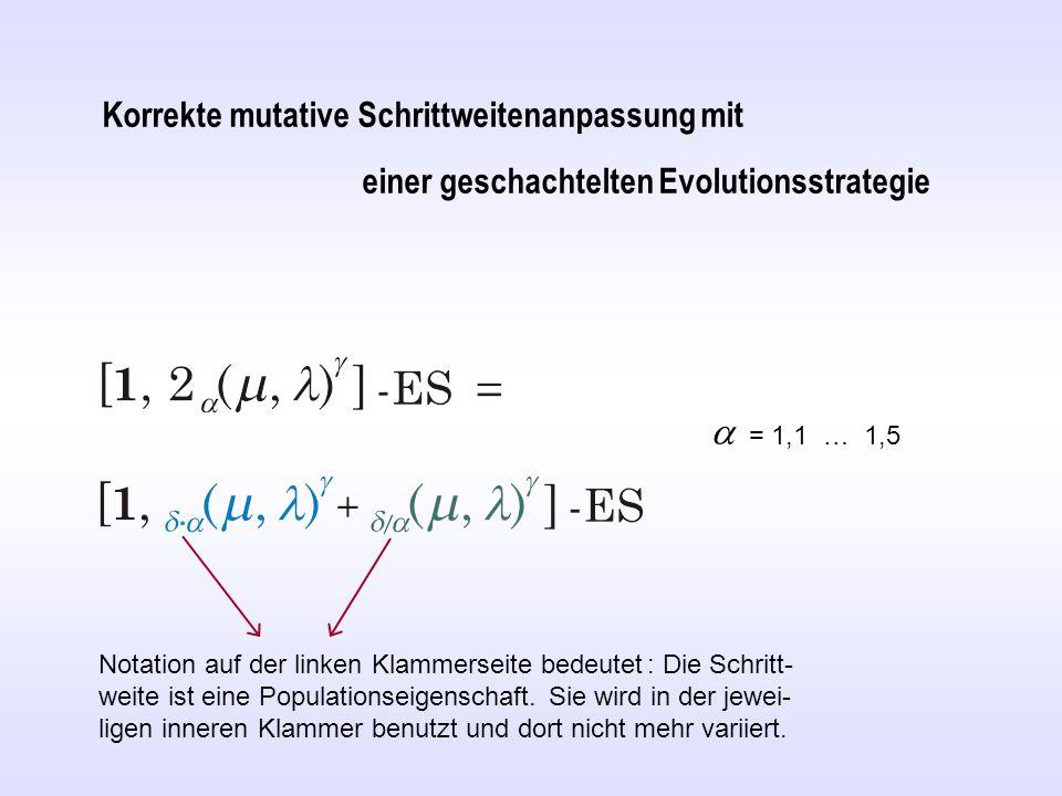 Korrekte mutative Schrittweitenanpassung mit einer geschachtelten Evolutionsstrategie  = 1,1 … 1,5 Notation auf der linken Klammerseite bedeutet : Die Schritt- weite ist eine Populationseigenschaft.