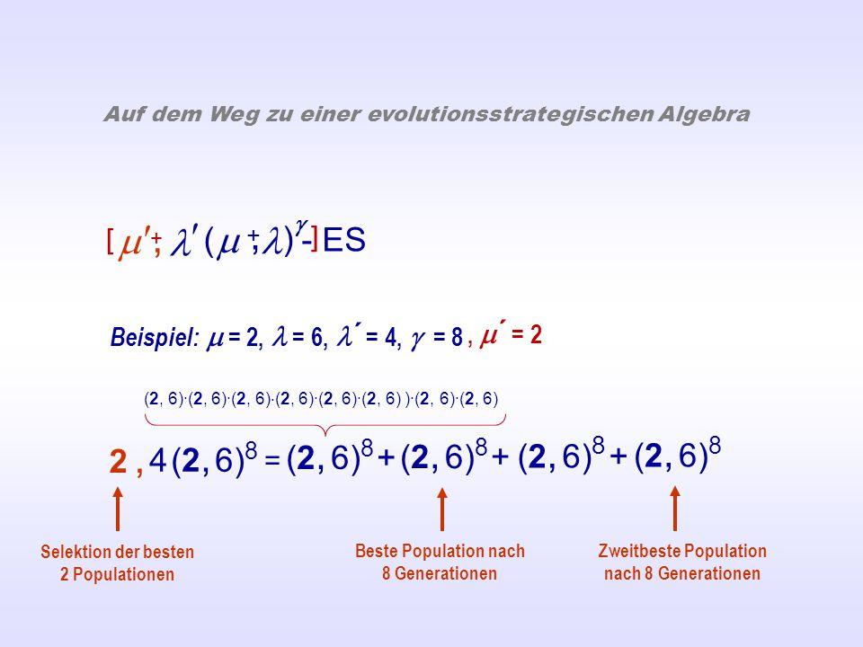  ( ) - ES  +, Auf dem Weg zu einer evolutionsstrategischen Algebra Beispiel:  = 2, = 6, ´ = 4,  = 8 = (2, 6) 8 + (2, 6) 8 4 (2, 6) 8 2,2, Beste Population nach 8 Generationen Zweitbeste Population nach 8 Generationen Selektion der besten 2 Populationen , [ ],  ´ = 2 + (2, 6)·(2, 6)·(2, 6) · (2, 6)·(2, 6)·(2, 6) )·(2, 6)·(2, 6)