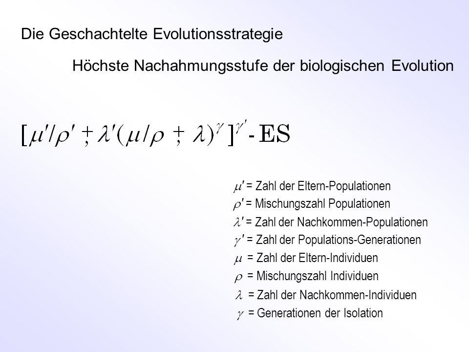 Die Geschachtelte Evolutionsstrategie Höchste Nachahmungsstufe der biologischen Evolution  = Zahl der Eltern-Populationen = Zahl der Nachkommen-Populationen  = Zahl der Eltern-Individuen   = Zahl der Nachkommen-Individuen  = Generationen der Isolation    = Zahl der Populations-Generationen  = Mischungszahl Populationen  = Mischungszahl Individuen