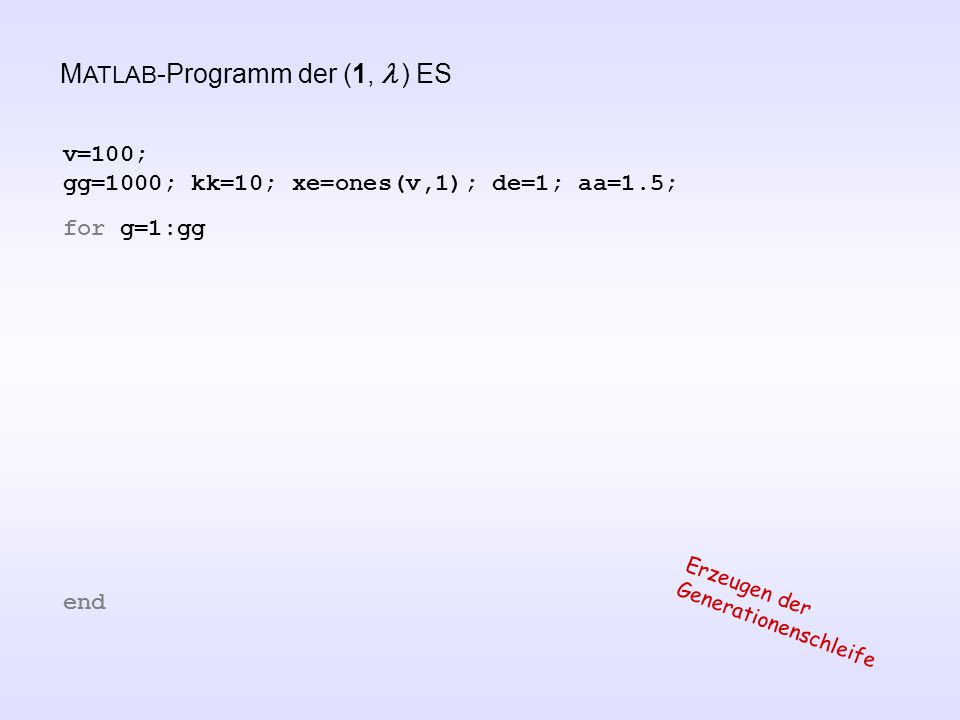 M ATLAB -Programm der (1,  ) ES v=100; gg=1000; kk=10; xe=ones(v,1); de=1; aa=1.5; for g=1:gg end Erzeugen der Generationenschleife