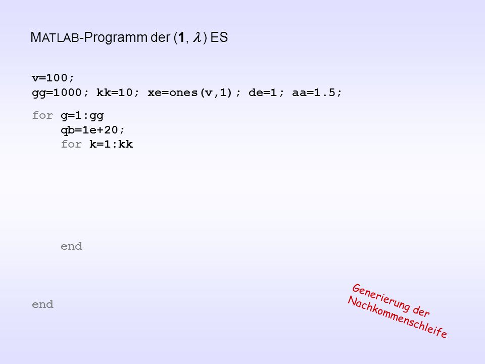 v=100; gg=1000; kk=10; xe=ones(v,1); de=1; aa=1.5; for g=1:gg qb=1e+20; for k=1:kk end Generierung der Nachkommenschleife M ATLAB -Programm der (1,  ) ES